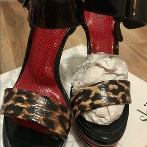 New Leopard and Red Platform Heels